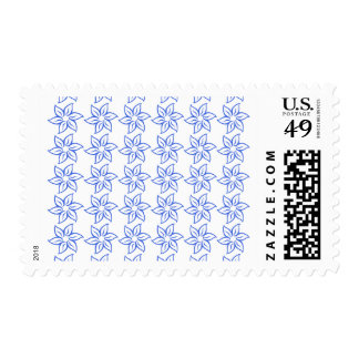 Curly Flower Pattern - Royal Blue on White Postage Stamp