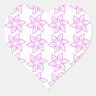 Curly Flower Pattern - Ultra Pink on White Heart Sticker