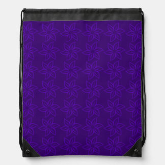 Curly Flower Pattern - Violet on Dark Violet Drawstring Backpack