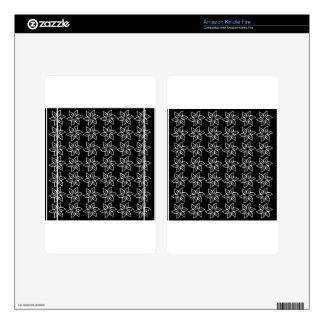 Curly Flower Pattern - White on Black Kindle Fire Decal