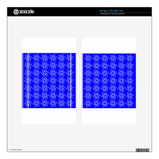 Curly Flower Pattern - White on Blue Kindle Fire Decal