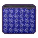 Curly Flower Pattern - White on Dark Blue Sleeves For iPads