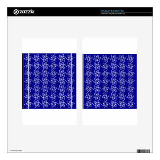 Curly Flower Pattern - White on Dark Blue Kindle Fire Skins