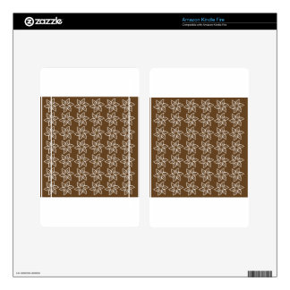 Curly Flower Pattern - White on Dark Brown Decal For Kindle Fire