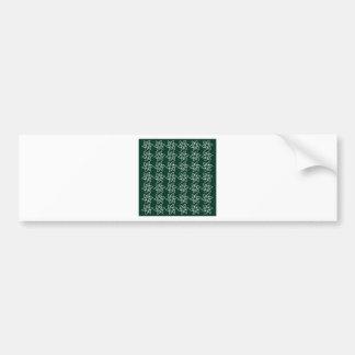 Curly Flower Pattern - White on Dark Green Bumper Stickers