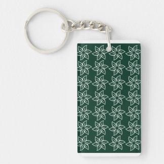 Curly Flower Pattern - White on Dark Green Acrylic Key Chains