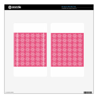 Curly Flower Pattern - White on Dark Pink Skins For Kindle Fire