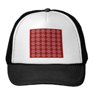 Curly Flower Pattern - White on Dark Red Mesh Hat