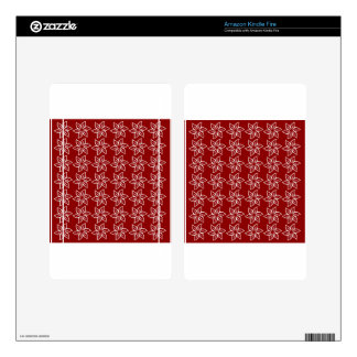 Curly Flower Pattern - White on Dark Red Kindle Fire Decals