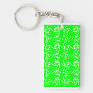 Curly Flower Pattern - White on Electric Green Acrylic Key Chains
