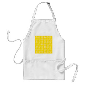 Curly Flower Pattern - White on Golden Yellow Adult Apron