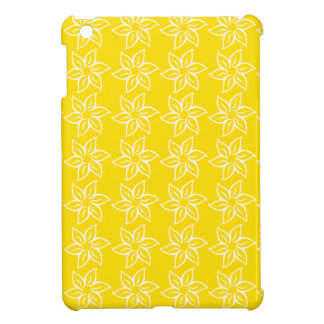 Curly Flower Pattern - White on Golden Yellow iPad Mini Covers
