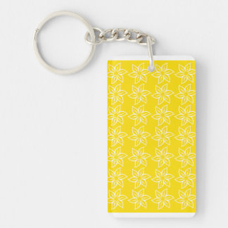 Curly Flower Pattern - White on Golden Yellow Acrylic Key Chain