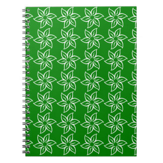 Curly Flower Pattern - White on Green Journals