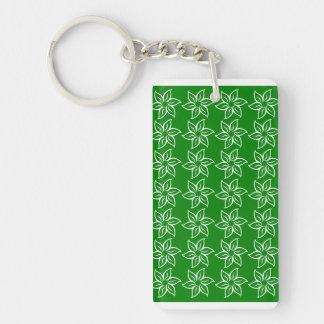 Curly Flower Pattern - White on Green Rectangular Acrylic Key Chain