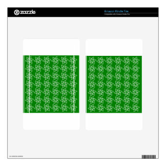 Curly Flower Pattern - White on Green Kindle Fire Decals