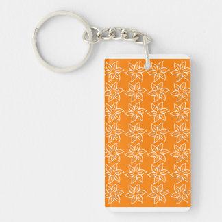 Curly Flower Pattern - White on Orange Rectangle Acrylic Key Chain