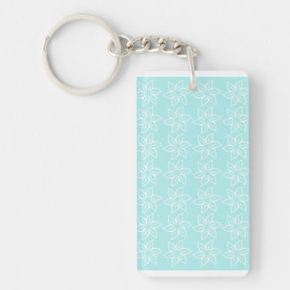 Curly Flower Pattern - White on Pale Blue Rectangular Acrylic Key Chains