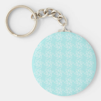 Curly Flower Pattern - White on Pale Blue Key Chains