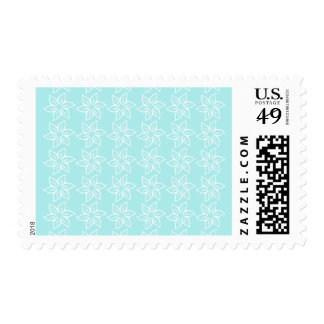 Curly Flower Pattern - White on Pale Blue Postage Stamp