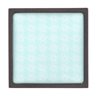 Curly Flower Pattern - White on Pale Blue Premium Trinket Boxes