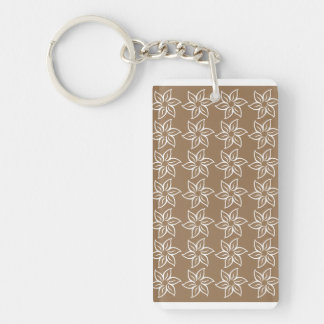 Curly Flower Pattern - White on Pale Brown Rectangular Acrylic Keychains