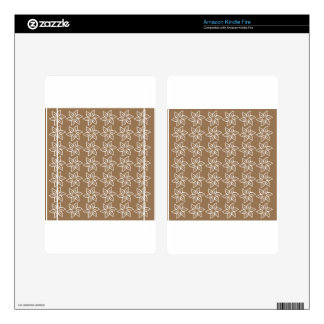 Curly Flower Pattern - White on Pale Brown Kindle Fire Decal