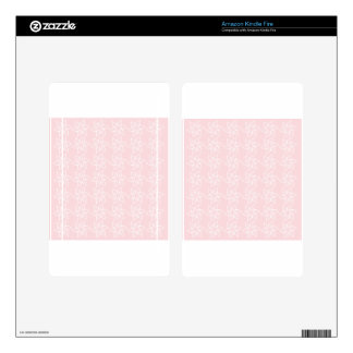 Curly Flower Pattern - White on Pale Pink Decal For Kindle Fire