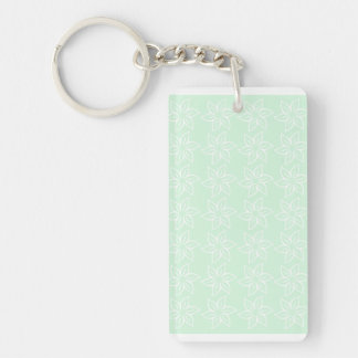 Curly Flower Pattern - White on Pastel Green Rectangle Acrylic Keychains