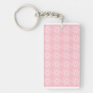 Curly Flower Pattern - White on Pink Rectangle Acrylic Key Chains