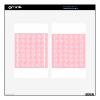 Curly Flower Pattern - White on Pink Kindle Fire Skins