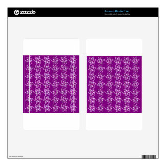 Curly Flower Pattern - White on Purple Kindle Fire Decals