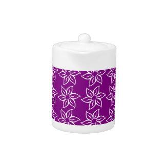 Curly Flower Pattern - White on Purple