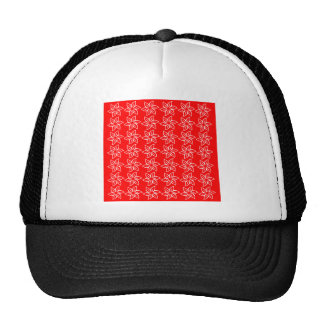 Curly Flower Pattern - White on Red Mesh Hats