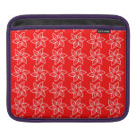 Curly Flower Pattern - White on Red iPad Sleeves