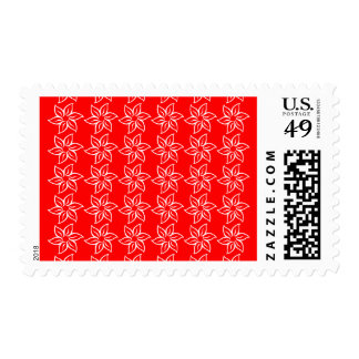 Curly Flower Pattern - White on Red Postage Stamps