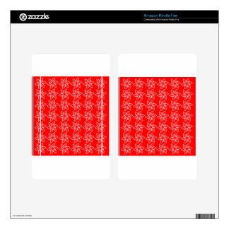 Curly Flower Pattern - White on Red Decals For Kindle Fire