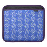 Curly Flower Pattern - White on Royal Blue iPad Sleeve