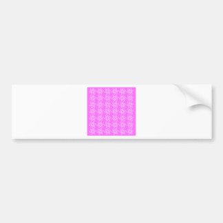 Curly Flower Pattern - White on Ultra Pink Bumper Sticker