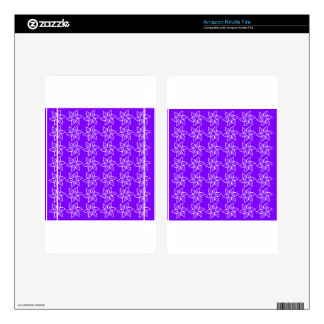 Curly Flower Pattern - White on Violet Kindle Fire Decals