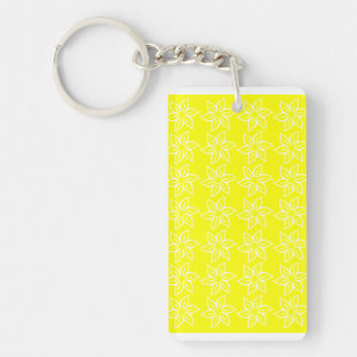 Curly Flower Pattern - White on Yellow Rectangular Acrylic Keychains