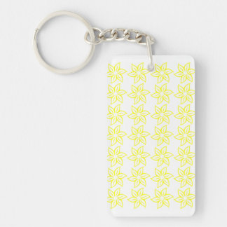 Curly Flower Pattern - Yellow on White Rectangle Acrylic Keychains