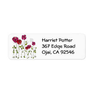 Curly Flowers Cute Girly Retro Floral Label
