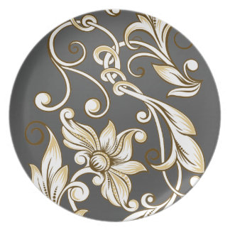 Curly Flowers on Black Melamine Plate