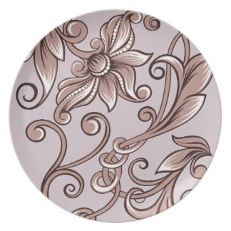 Curly Flowers on Lavender Dinner Plate
