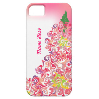 Curly Flowers Pink Personalized iPhone 5 Case