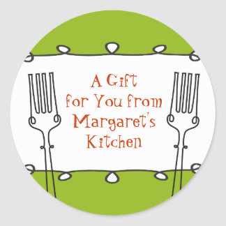 Curly forks retro decorative food gift tag sticker