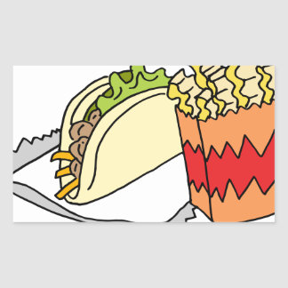 Curly fries street taco food rectangular sticker