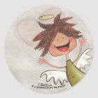 Curly Haired Angel-Pray for Today, Everyday! Classic Round Sticker