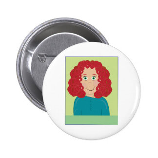 Curly Haired Girl Buttons